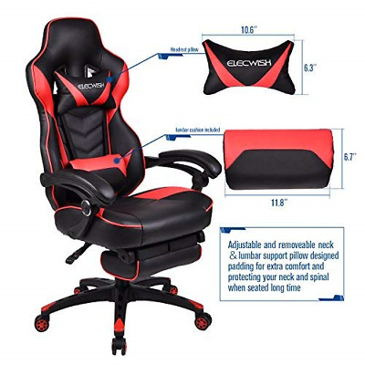 Racing Chair PU Leather Ergonomic Office Swivel Desk Chairs High Back Video With