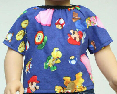 """Doll clothes Shirt fit American Boy or Girl and 18"""" dolls Mario Video Games NEW"""