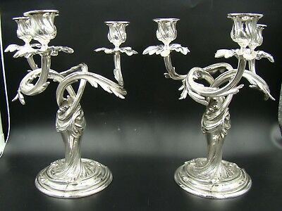 French Christofle Silver Plate Marly Candelabra Candlestick Pair 3 Light ca 1890