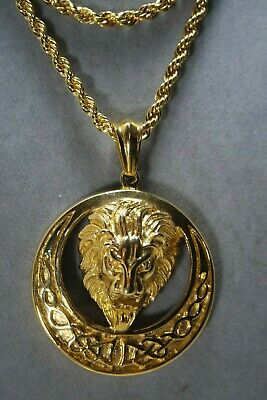 Vintage Gold Plate Rope Chain Necklace Large Lion Medallion Pendant