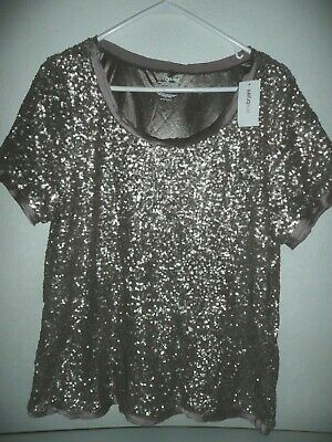 0c085efe4 Nwt Lane Bryant Gold Sequin Chiffon Trim Pullover Tee Top Plus Size 14/16