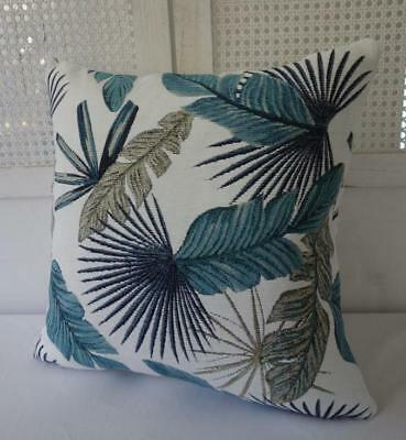 Teal, Blue & Pale Brown Tropical Leaves Jacquard Fabric Cushion Cover 45