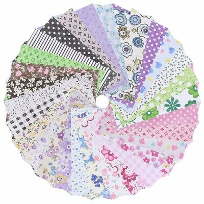 50Pcs Assorti Tissu en Coton Carreaux Patchwork Coupon Fleur textile DIY 10x10cm