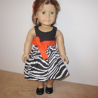 """Doll clothes Orange Black and White Dress fit American Girl & 18"""" Dolls Shoes"""