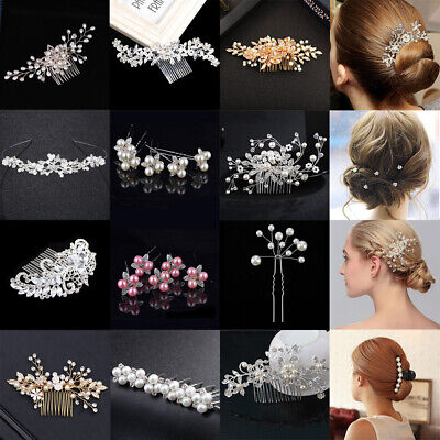 Wedding Flower Hair Pins Comb Bridal Clips Gold Crystal Pearl Hair Accessories
