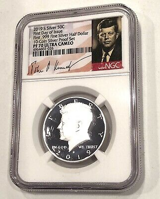 Pf -70 U.c.- 2019-S, First Day Of Issue, Kennedy Half Dollar,  .999 Fine Silver-