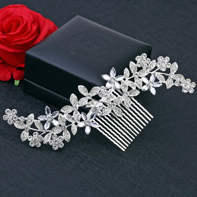 Wedding Rhinestone Sliver Hair Pins Clip Bridal Diamante Crystal Slide Comb Gift