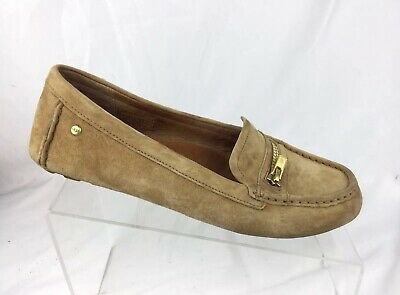 c5bbf07d768 UGG WOMENS DAVINA Driving Moc Shoe Flat Tan Suede Leather Loafer Zipper Sz 8