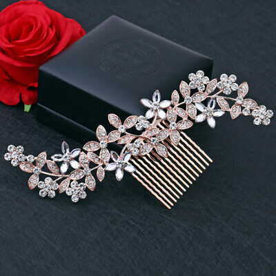 Wedding Rhinestone Rose gold Hair Pins Clip Bridal Diamante Crystal Slide Comb