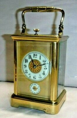 Antique French Brass 8-Day Corniche Carriage Chime Repeater Clock + Alarm