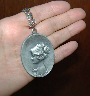 BEAUTIFUL PEWTER CAMEO VICTORIAN LADY PENDANT MEDALLION vintage FREE SHIPPING
