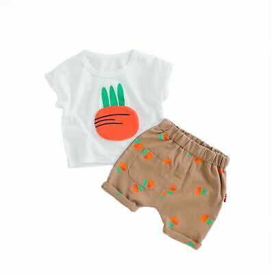 Lovely Toddler Baby Kid Girls Carrot T-shirt Tops Shorts Pants Casual Outfit Set