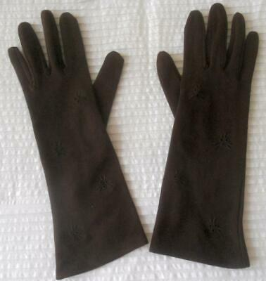Pr Vintage 1960S Past Wrist Length Dark Brown Embroidery Detail Gloves M 6-7