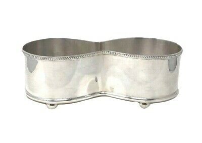 """Vintage Art Deco Silverplated Footed Red & White Table Wine Holder 8.5""""L"""