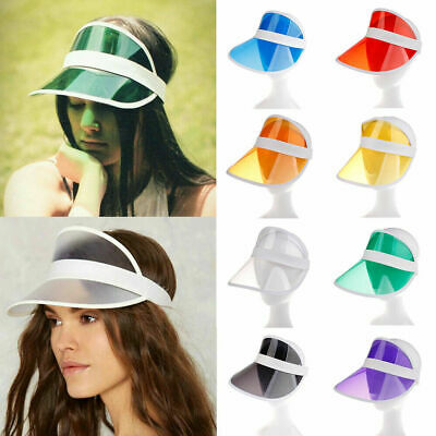 PVC Summer Hat Sun Visor Casual Party Hat Clear Plastic Adult Sunscreen Cap NEW