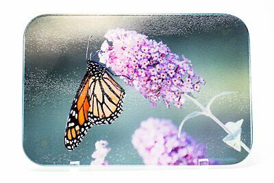 Monarch Butterfly Bush Cutting Board, Serving Platter, Hand Imprinted Photo
