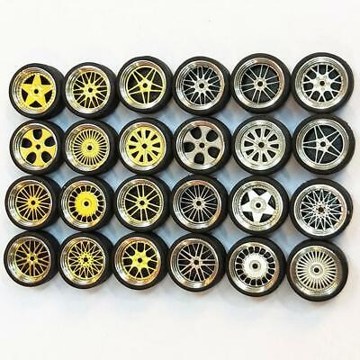 1/64 Scale Alloy Wheels - Custom Hot Wheels, Matchbox,Tomy, Rubber Tire 10g C5M9