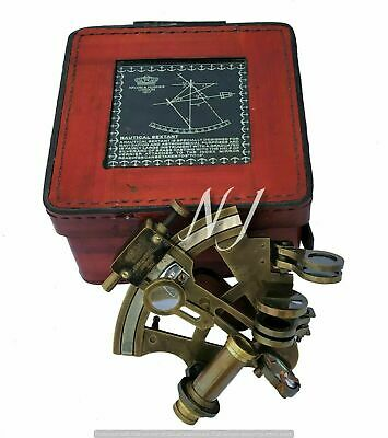 Nautical Brass Sextant Antique Brass Sextant Working Marine Vintage/Leather Box