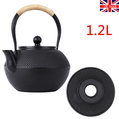 Tetsubin Cast Iron Teapot + Trivet Japanese Style Tea Pot Kettle 1.2L (1200ml)