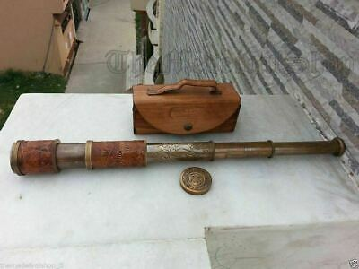 Brass Antique Telescope Marine Nautical Leather Pirate Spyglass Vintage Scope