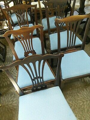 Eight Genuine Georgian dining chairs Chippendale style c.1760-1800