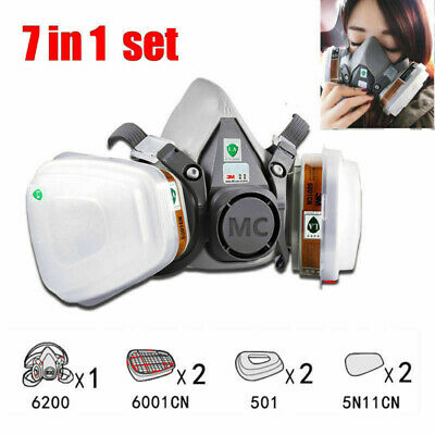 3M 7502/6200 Spray Paint Dust Mask 7 in1 Half Face Reusable Respirator Filter AU