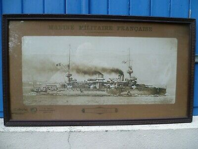 A French Ww1 Framed Sepia Photograph Of The French Naval Battleship 'Suffren'