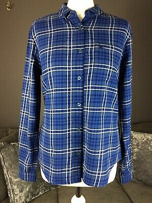 Womans Uk 10 Jack Wills Brushed Cotton Blue Check Shirt Classic Fit Vgc