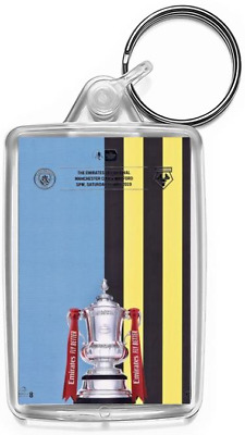 2019 FA Cup Final Manchester City v Watford Programme Cover Keyring