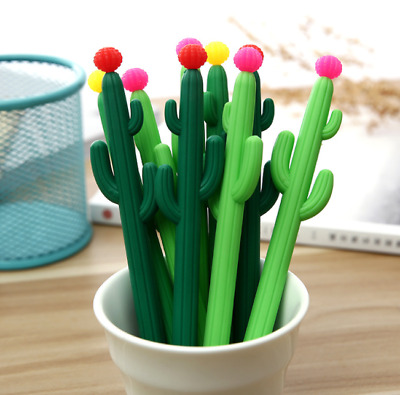 2Pcs Creative Cactus Gel Pen Writing Pen Kids School Stationery Gift NEW