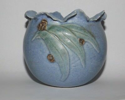 Blue Gumnut & Leaf Pot Vase Label to Base Signed 1988 Australian Pottery
