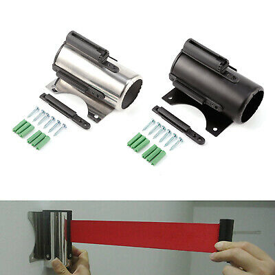 Retractable Red Belt Stanchion Queue Barrier Wall Mount Stainless Steel / Metal