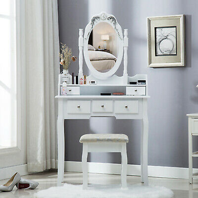 Redstone White Dressing Table With, Redstone Dressing Table With Stool And Mirror White
