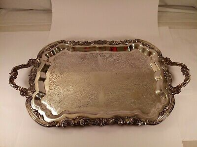 """Vintage Fb Rogers Co 25""""× 14 1/2"""" Footed Silverplate Tray"""