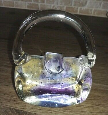 Glass Paperweight Handbag Shape collectable Ornament display