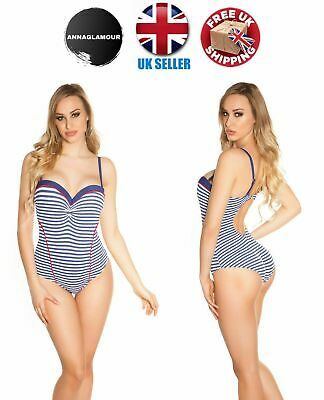 SUMMER 2019 Sexy Womens Ladies Blue Striped Strappy Monokini with Push Up Bra
