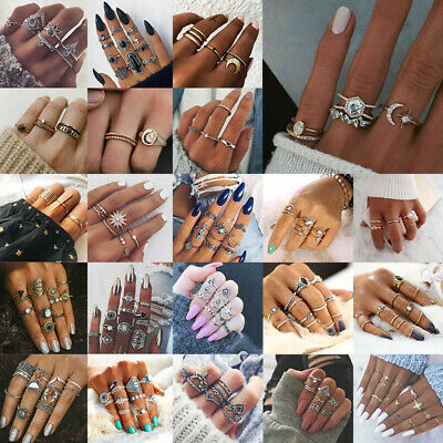 Cool Hot Women Boho Knuckle Rings Set Turquoise Arrow Cross Elephant Midi Ring