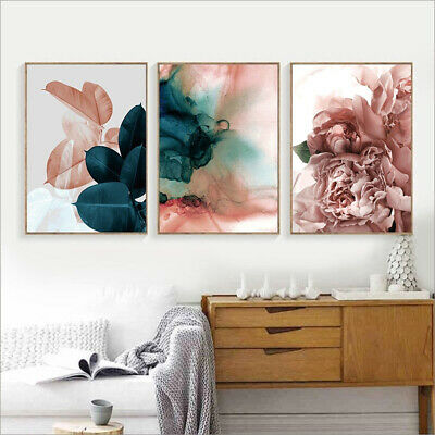 Canvas Painting Leaf Flower Picture Art Poster Wall Living Room Decor Cheerful