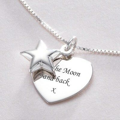 Personalised Necklace, Sterling Silver, Heart and Star Pendants, Any Engraving