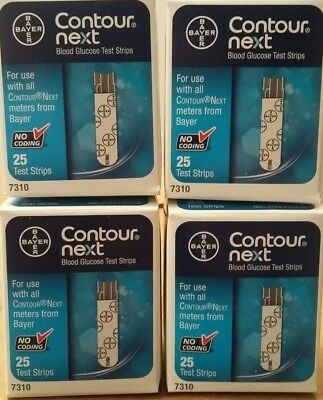 4 Bayer Contour Next Blood Glucose Test Strips 25 Ct Each Exp 08/2019+