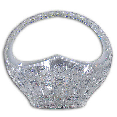 Large American Brilliant Cut Glass Basket - Early 1900's