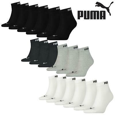 6 Pairs Puma Unisex Cotton Rich Quarter Trainer Sports Socks