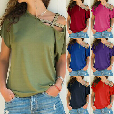 Womens Cold Shoulder Baggy T-Shirt Ladies Casual Tops Holiday Blouse Size 6-24