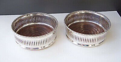 A Pair of Vintage Silver Plated Wine Bottle Table Coasters, Pierced, Cooper Bros