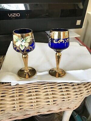 Italian Vintage Pair Of Murano Cobalt Blue Glasses With Flowers & 24K Gold 3 7/8