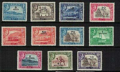 Aden stamps - george vi Mint LH - surcharge issue 1951 - set to 10 shilling good