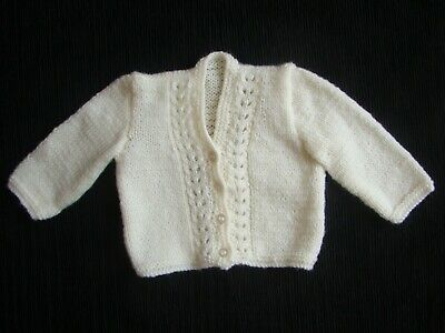 Baby clothes UNISEX BOY GIRL 0-3m beautiful cream hand knit cardigan SEE SHOP!