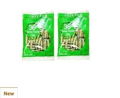 72 Preformed Dime Tubes Paper Coin Wrapper 10 cents Shotgun Roll Counter