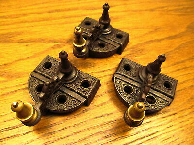 3 1872  Brass ? Bronze ? Steeple Top..... Window Sash Locks..latches..ornate