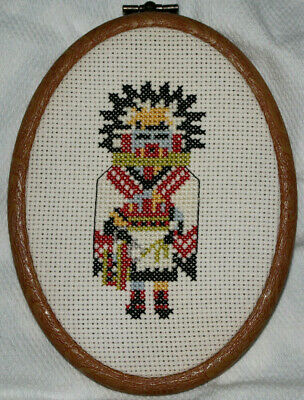Vintage Kachina Doll Handcrafted Needlepoint Cross Stitch Framed Embroidery EUC